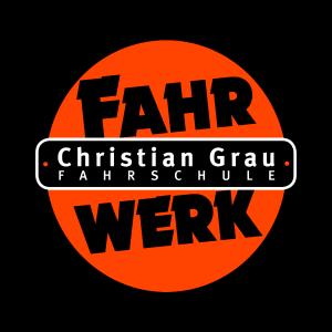 Logo der Fahrschule Fahrwerk Christian Grau.